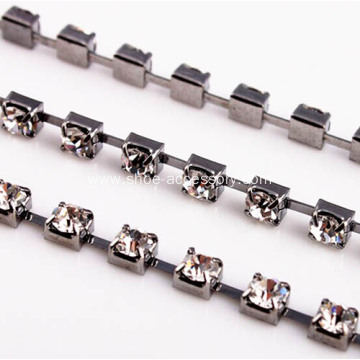 Square Cup Chain Rhinestone Gun Black Plated